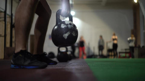 Crossfit Kettlebell Training In Gym GIF