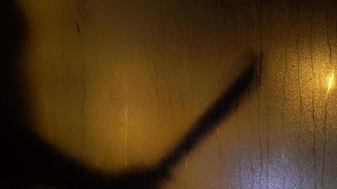 Horrors. Killer Go With Machete Sweaty Glass Window