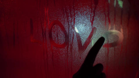 Drawing Love With Finger On The Sweaty Glass Footage