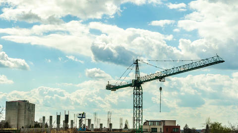 Beautiful time lapse of crane on industrial construction yard Footage