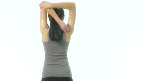 Woman stretching arms middle 1