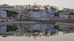 Lake Pushkar with reflection,Pushkar,India Footage