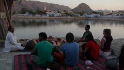 Tourists and drum teacher ,Pushkar,India Footage