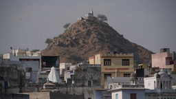 Small temple on hill with birds,Pushkar,India Footage