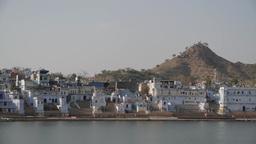 Lake Pushkar with small hill,Pushkar,India Footage