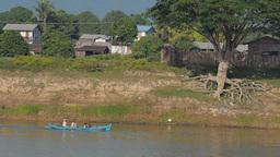 Small boat tracking on the Irrawaddy,Irrawaddy,Burma Footage