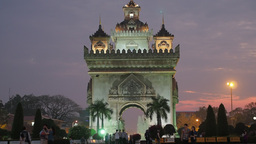Patuxai in the evening with tourists,Vientiane,Laos Footage