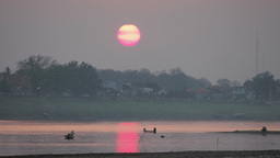 Sunset at Hat Don Chan Mekong,Vientiane,Laos Footage