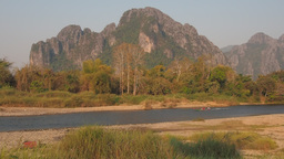 Carst mountain and river,Vang Vieng,Laos Footage