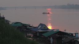 River restaurants in the Mekong at sunset,Nong Khai,Thailand Footage