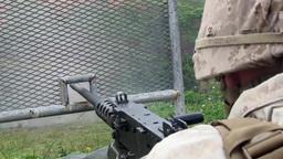 Browning M2 .50 Caliber Machine Gun and M240G Medium... Stock Video Footage