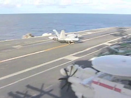 Landing an F18 Hornet on the Aircraft Carrier USS George Washington Footage