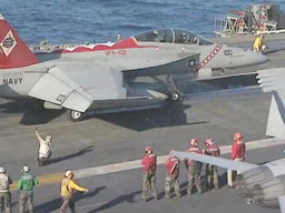 F-18 Hornet fighter jet on Aircraft Carrier USS George... Stock Video Footage