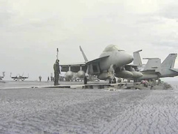 F-18 deck operations on the Aircraft Carrier USS George... Stock Video Footage