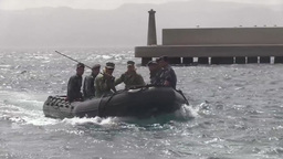 Unmanned underwater vehicle training Stock Video Footage