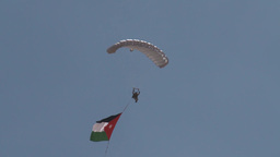Paratroopers jumping from Hercules parachute Stock Video Footage