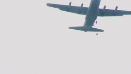Parachuting out of a C-130 Hercules transport aircraft Footage