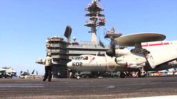 E2-C Hawkeye USS George H.W. Bush (CVN 77) aircraft... Stock Video Footage