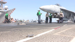 F-18 Hornet USS George H.W. Bush (CVN 77) aircraft... Stock Video Footage