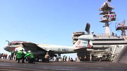 EA-6B Prowler USS George H.W. Bush (CVN 77) aircraft... Stock Video Footage