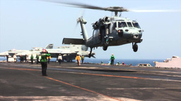 SH-60 Helicopter USS George H.W. Bush (CVN 77) aircraft... Stock Video Footage