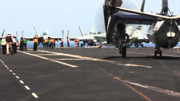 E2-C Hawkeye USS George H.W. Bush (CVN 77) aircraft... Stock Video Footage