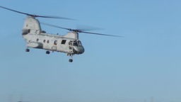 Parachuting out of CH-46 Sea Knight helicopters Stock Video Footage