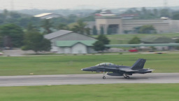 F-18 Hornet Military Fighter Jets take off and land Stock Video Footage
