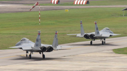 F-15 Eagle Military Fighter Jets Take Off And Land stock footage