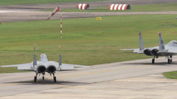 F-15 Eagle Military Fighter Jets take off and land Stock Video Footage
