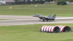 Mig 29 Fulcrum Military Fighter Jets take off and land Stock Video Footage