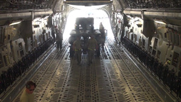 C-17 Globemaster Aircraft and cargo deploy to Nellis Air... Stock Video Footage