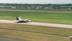 F-22 Raptor stealth fighter jet take off Stock Video Footage