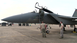 F-15 Eagle fighter jets take off Stock Video Footage