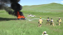 Fire fighters Vehicle Burn Training Stock Video Footage