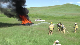Fire fighters Vehicle Burn Training Footage