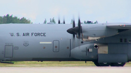 C-130 Hercules Aircraft Lands at Lielvarde Air Base, Latvia Footage