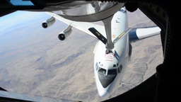 KC-135 stratotanker 340th EARS refuels E-3 over Afghanistan Footage