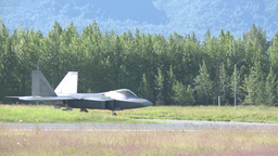 F-22 Raptor fighter jet at red flag Stock Video Footage
