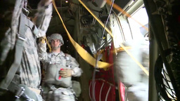 Parachuting airborne jumps and inside the RAAF C-130... Stock Video Footage