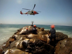 Coast Guard Helicopter Crews Repair Aid to Navigation Footage
