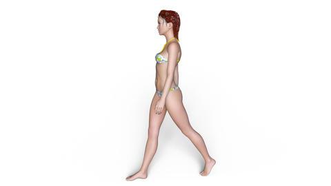 Female Swimsuit Walk Animation