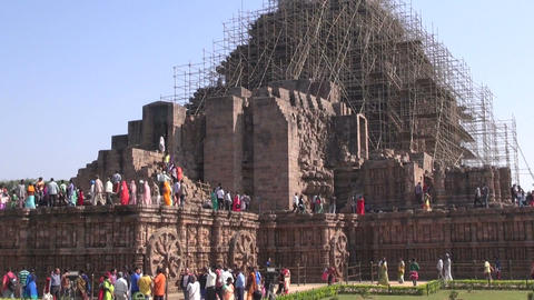 Many peoples in medieval UNESCO heritage, ruined temple of Sun god, Odisha, Indi Footage