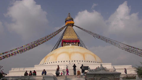 People walk around the Buddhist spiritual center Boudhanath Stupa.Kathmandu Footage