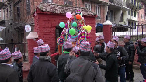 people celebrating in Katmandu street. Wedding festival fragment Footage