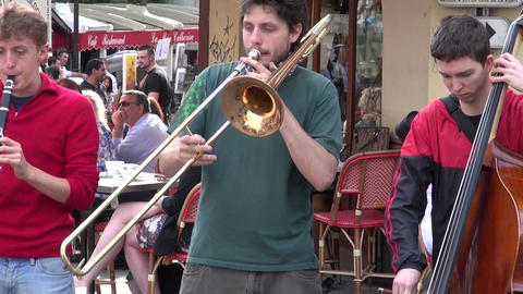 Group young musicians playing on Montmartre in Paris Footage