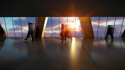 Business People Silhouettes Walking Commuter, Rear View City Skyline at Sunset,  Animation