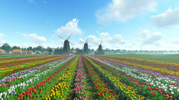Traditional Dutch windmills with vibrant tulips in the foreground over blue sky, Animation