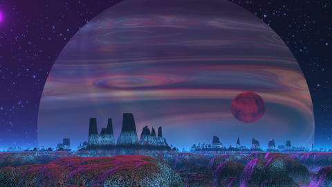 Gas Giant on the Background of the Alien Landscape Animation