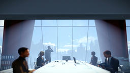 Businessmen team in conference room, rear view cityscape Animation